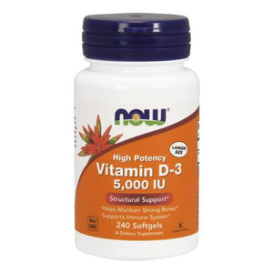 Vitamin D3 5000IU 240 softgels by Now Foods (2587266547797)