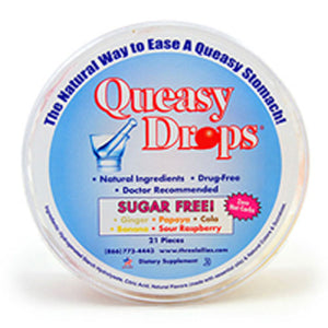 Queasy Drops Sugar Free 21 CT by Three Lollies
