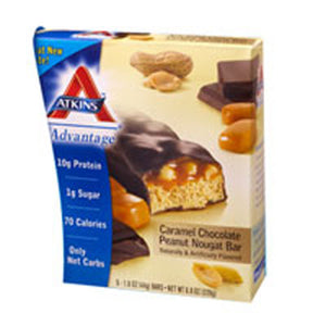 Advantage Bar Caramel Chocolate Peanut Nougat 5 Pkts by Atkins (2587277131861)