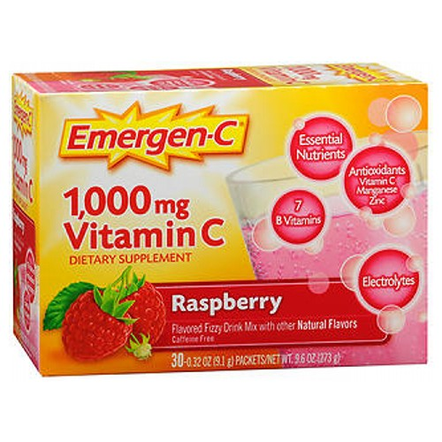 Emergen-C Vitamin C Drink Mix Packets Raspberry 30 pkts by Alacer