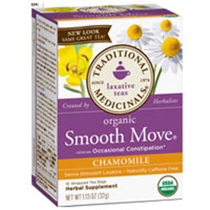 Organic Smooth Move Tea Senna Chamomile 16 bags by Traditional Medicinals Teas