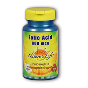Folic Acid 100 tabs by Nature's Life (2587328741461)