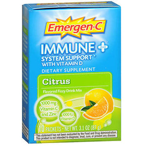 Emergen-C Immune Plus System Support With Vitamin D Citrus,10 Pkt by Alacer (2587941601365)