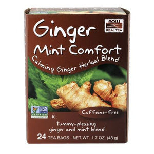 Ginger Mint Comfort Tea 24 bags by Now Foods (2587402567765)