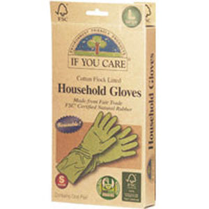Household Gloves Latex Cotton Flock Lined Large 1 PAIR by If You Care (2587592196181)