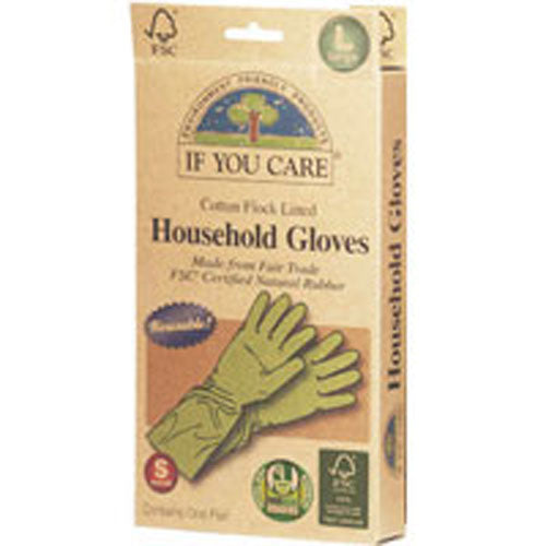 Household Gloves Latex Cotton Flock Lined Large 1 PAIR by If You Care