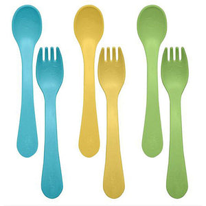 Sprout Ware Fork and Spoon Set Aqua 6 Count by Green Sprouts