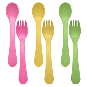 Sprout Ware Fork and Spoon Set Pink 6 Count by Green Sprouts
