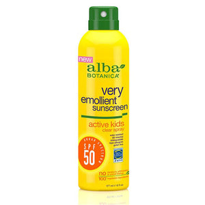 Very Emollient Active Kids Clear Spray Sunscreen SPF50 6 Oz by Alba Botanica