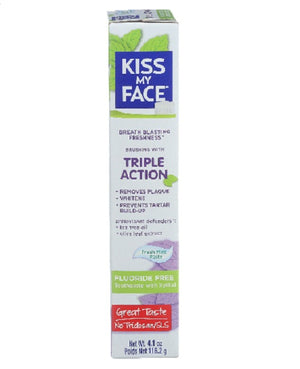 Fluoride Free Triple Action Toothpaste Fresh Mint Paste 4.1 Oz by Kiss My Face