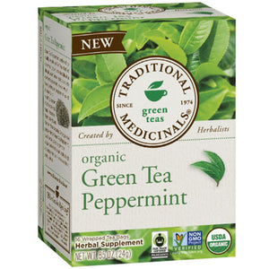 Organic Green Tea Peppermint 16 Bag by Traditional Medicinals Teas (2588213346389)