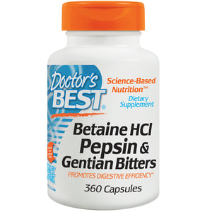 Betaine HCl Pepsin & Gentian Bitters 360 Caps by Doctors Best