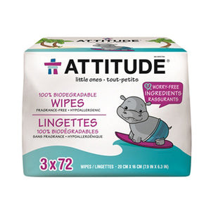 Eco Baby Wipes Fragrance free, 216 wipes by Attitude