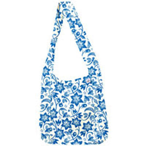 Sami Floral Natural Cotton Boho Sling Tote Blue 1 Bag by Eco Bags