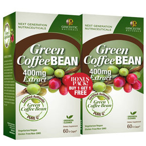 Green Coffee Bean Extract Bonus Pack 2/60 Vcaps by Genceutic Naturals (2588155543637)