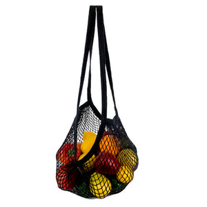 Natural Cotton Long Handle String Bag Black 1 Bag by Eco Bags (2588152037461)