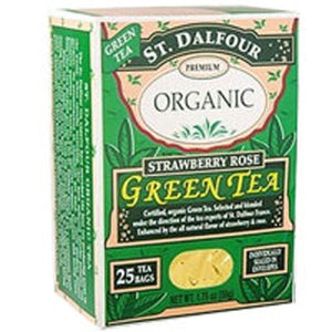 Green Tea Premium Organic Strawberry Rose 25 bags by St.Dalfour