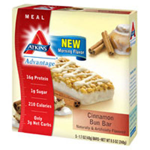 Advantage Bar Cinnamon Bun 5/1.7 OZ by Atkins (2588116287573)