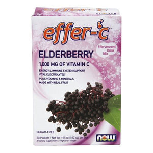 Effer-C Elderberry Sugar Free with BetterStevia and Xylitol 30 Packets by Now Foods (2587406696533)