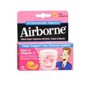 Airborne Effervescent Health Formula Pink grapefruit 10 tabs by Airborne (2587986493525)