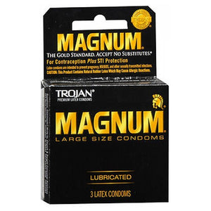 Trojan Magnum Lubricated Latex Condoms Large, Pack of 3 by Trojan (2587421704277)