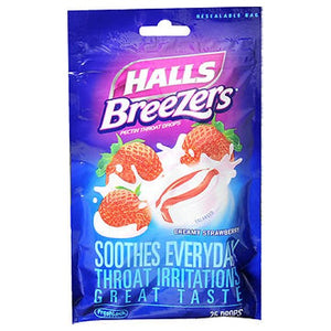 Halls Breezers Throat Drops Cool Creamy Strawberry 25 Tabs by Halls (2587429175381)
