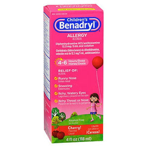 Benadryl Childrens Allergy Liquid Cherry 4 oz by Johnson & Johnson (2587442937941)