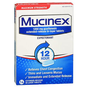 Mucinex Expectorant Extended-Release Maximum Strength 14 tabs by Airborne (2587443691605)