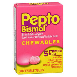 Pepto-Bismol Upset Stomach Reliever Antidiarrheal Chewable 30 ct by Pepto-Bismol