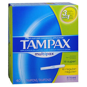 Tampax Tampons Multipax Flushable Applicator Regular/Super/Lites 40 each by Tampax (2587451293781)