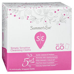 Summers Eve Feminine Cleansing Cloths Sensitive Skin Summers 16 each by Summers Eve (2587465711701)