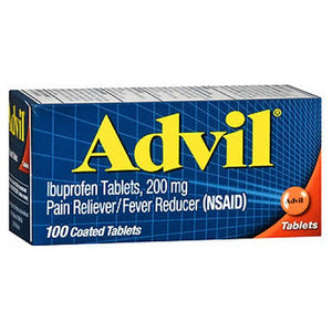 Advil Pain Reliever And Fever Reducer Coated Tablets 100 tabs by Advil (2587473150037)