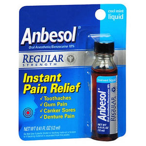 Anbesol Mouth Wash Liquid Regular Strength Cool Mint 0.41 oz by Anbesol