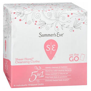 Summers Eve Feminine Cleansing Cloths Sensitive Skin Sheer Floral Summers 16 each by Summers Eve (2587478884437)