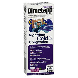 Dimetapp Childrens Nighttime Cold Congestion Liquid Grape 4 oz by Dimetapp