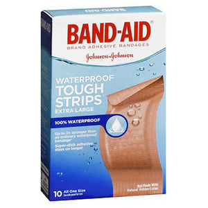 Band-Aid Tough-Strips 100% Waterproof Adhesive Bandages Extra Large 10 each by Band-Aid (2587495432277)