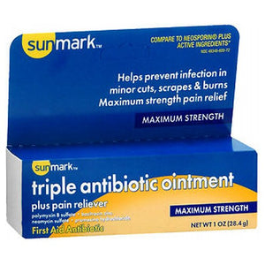 Sunmark Triple Antibiotic Ointment Plus Pain Reliever 1 oz by Sunmark (2587496710229)