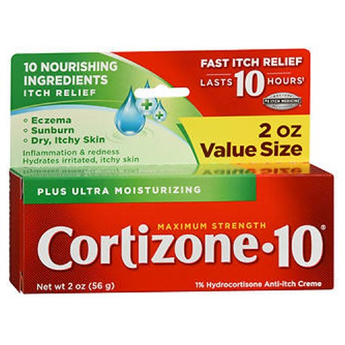Cortizone-10 Plus Maximum Strength 1% Hydrocortisone Anti-Itch Moisturizer Creme 2 oz by Cortizone-10