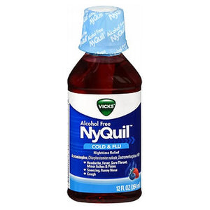 Vicks Nyquil Alcohol Free Cold And Flu Nighttime Relief Liquid Soothing Berry Flavor 12 Oz by Vicks (2587503001685)