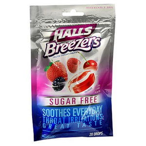 Halls Breezers Drops Sugar Free Cool Berry 20 each by Halls (2587507621973)