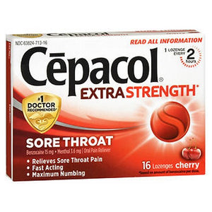 Cepacol Sore Throat Maximum Strength Numbing Lozenges Cherry 16 each by Airborne