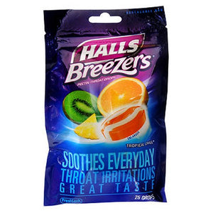 Halls Fruit Breezers Pectin Throat Drops Tropical Chill 25 Each by Halls (2587516895317)