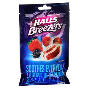Halls Fruit Breezers Throat Drops Cool Berry 25 Each by Halls (2587516993621)