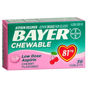 Bayer Children's Aspirin Chewable Low Dose Cherry 36 chewables by Bayer (2587519746133)
