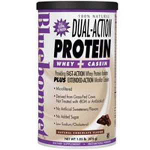 100% Natural Dual Action Protein Powder Natural Chocolate Flavor 2.1 lbs by Bluebonnet Nutrition (2587538096213)