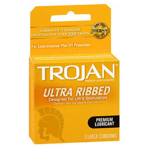 Trojan Condoms Ultra Ribbed Lubricated Latex 3 each by Trojan (2587539734613)