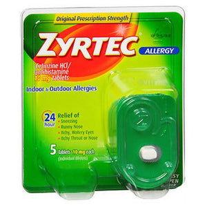 Zyrtec 24 Hour Allergy Relief 5 Tabs by Johnson & Johnson (2587543404629)