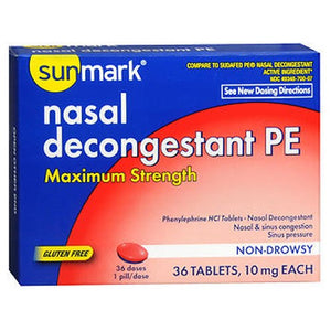 Sunmark Nasal Decongestant Pe Maximum Strength 36 Tabs by Sunmark (2587548909653)