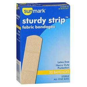 Sunmark Sturdy Strip Fabric Bandages All One Size 20 each by Sunmark (2587549990997)