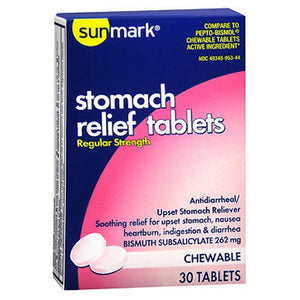 Sunmark Stomach Relief Chewable Regular Strength 30 Tablets by Sunmark